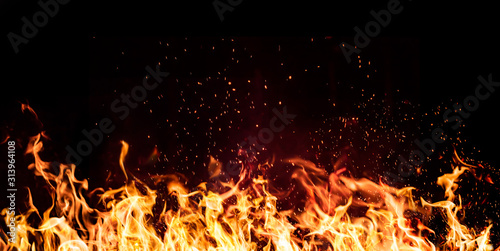 flames of fire on a black background