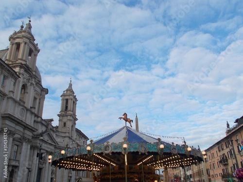Karuzela na Piazza Navona, Rzym.