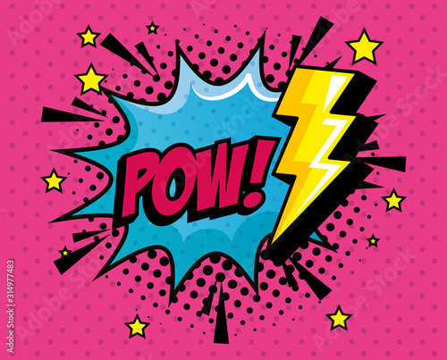pow expression with explosion and thunderbolt pop art style vector illustration design