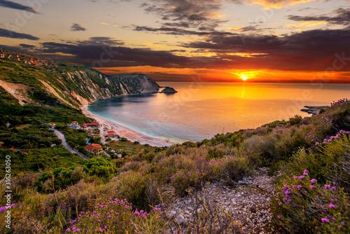 Beautiful summer sunset on Greece islands