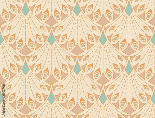 Art nouveau seamless pattern in beige colors. Vintage elegant background