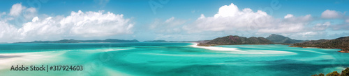 Panoramic view of beautiful white heaven beach with copy space