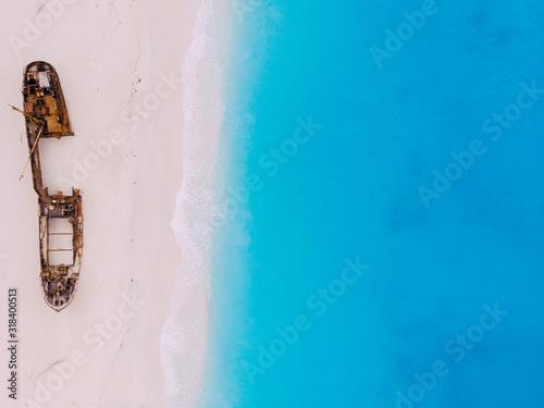 Top down View Navagio Bay Shipwreck Beach no people, Greece, Zakynthos