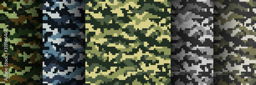 Set of 5 seamless digital camouflage patterns. Abstract modern military textile print background. Vector illustration.