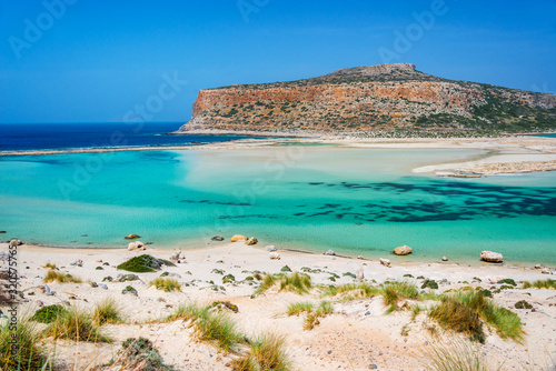 Balos beach and Gramvousa island near Kissamos in Crete, Greece