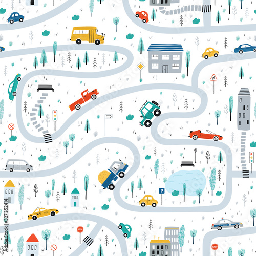 Cute children's seamless pattern with cars, road, Park, houses on a white background. Illustration of a town in a cartoon style for Wallpaper, fabric, and textile design. Vector