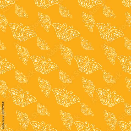 Butterflies On Orange Wallpaper, vector seamless pattern, background, texture