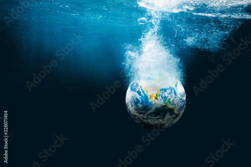 earth went underwater of the ocean. Elements of this image furnished by NASA