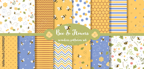 Bee seamless pattern collection Summer set Cute flying bees flowers honey geometric baby print Vector