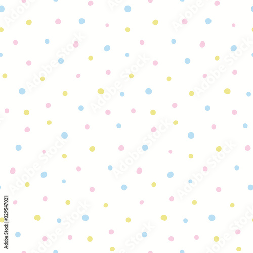 Hand drawn seamless geometric vector pattern. Pastel polka dots on white background. Scandinavian style flat design. Concept Easter, spring day kids textile print, wallpaper, wrapping paper, packaging