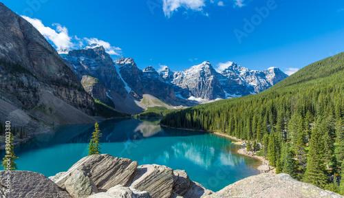 Moraine Lake in Banff National Park in the Canadian Rockies near Lake Louise, Alberta, Canada
