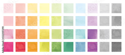 Vector set of rainbow watercolor square shapes. 水彩のベクター四角セット