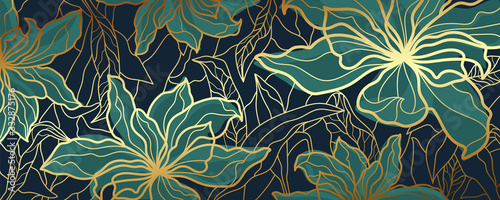 Luxury wallpaper design with Golden floral and natural background. Lotus line arts design for fabric, prints and background texture, Vector illustration.
