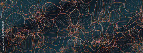 Luxury Orchid wallpaper design vector. Tropical pattern design,Blossom floral, Blooming realistic isolated flowers. Hand drawn. Vector illustration.