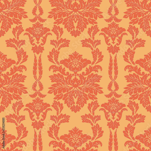 Seamless flower background Damascus. Orange and yellow Wallpaper or fabric in vector, antique ornament