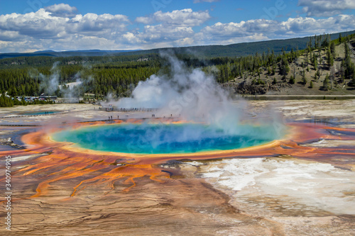 Scenic View Of Grand Prismatic Spring At Yellowstone National Park