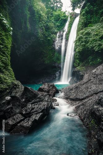 waterfall in the jungle bali indonesia