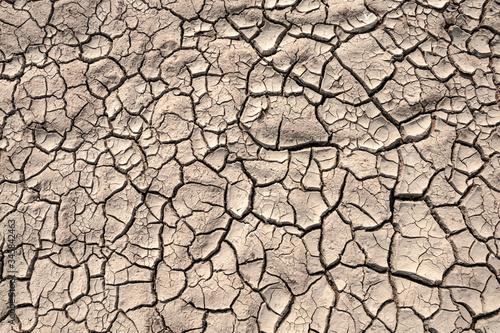 Ground cracks drought crisis environment background.