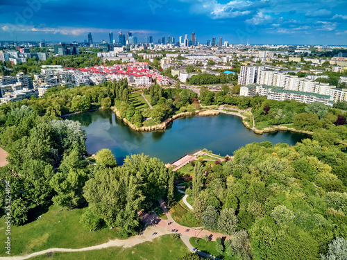 A beautiful panoramic view of the sunset in a fabulous evening on Szczesliwice Park - a former village, currently a housing estate in the Ochota district in Warsaw, Poland