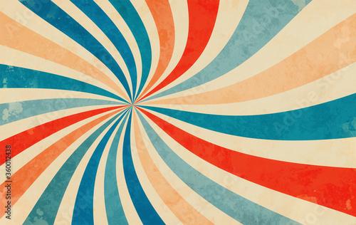 retro starburst sunburst background pattern and grunge textured vintage color palette of orange red beige peach and blue in spiral or swirled radial striped vector design