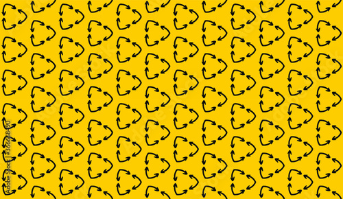 curved arrows in a seamless pattern, reinterpretation of the recycling symbol, black and yellow wallpaper, simple background, vector illustration