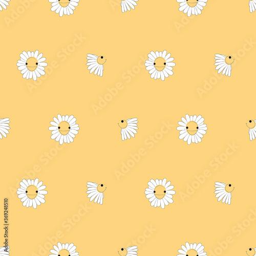 Flowers seamless pattern, Daisy cartoon characters on orange wallpaper.