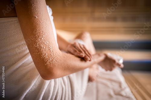 Scrub skin treatment while relax in spa