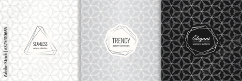 Silver vector geometric seamless patterns with modern minimal labels, frames. Elegant textures set with linear grid, mesh, net, thin lines. Art deco style. Trendy luxury background. Design template