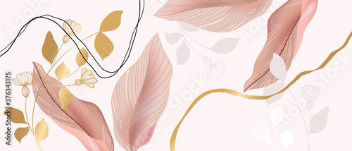 Floral seamless pastel pink and golden metallic plant background vector for house deco