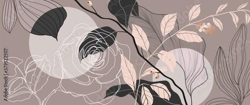 Luxury Rose background vector with golden metallic decorate