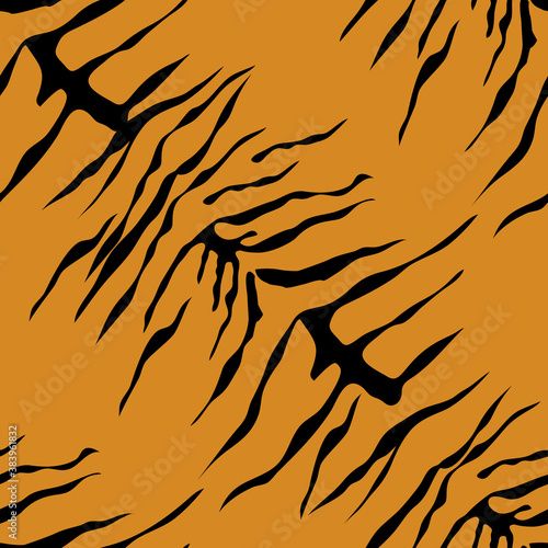 Tiger print background. Animal seamless pattern with hand drawn tiger stripes. Black and orange wallpaper. Vector