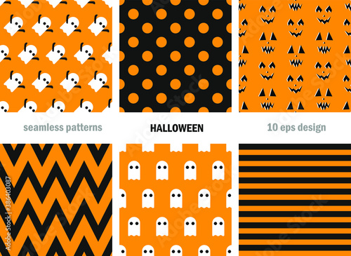 Set of seamless vector Halloween patterns. Scary repeat backgrounds for fabric, textile, cover, wrapping, web etc. 10 eps design. Classic black and orange wallpapers.