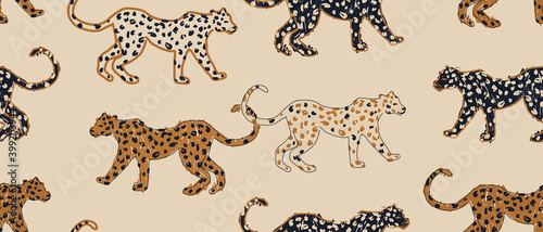 Hand drawn abstract pattern with leopards. Creative collage contemporary seamless pattern. Natural colors. Fashionable template for design.