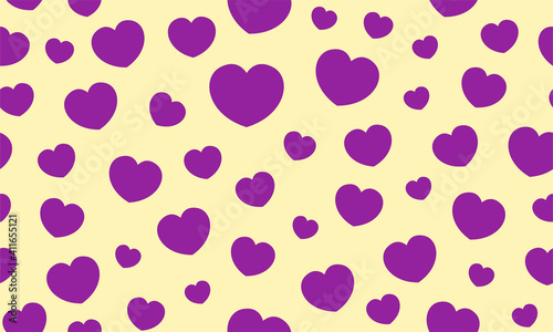 Endless seamless pattern of hearts of different sizes. Purple vector hearts on yellow. Wallpaper for wrapping paper