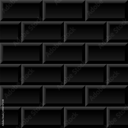 Black metro tiles seamless background. Subway brick pattern for kitchen, bathroom or outdoor architecture vector illustration. Glossy building interior design tiled material