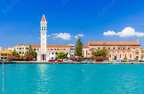 Zakynthos, Greece. View of Zakynthos town with Saint Dionysios Church.