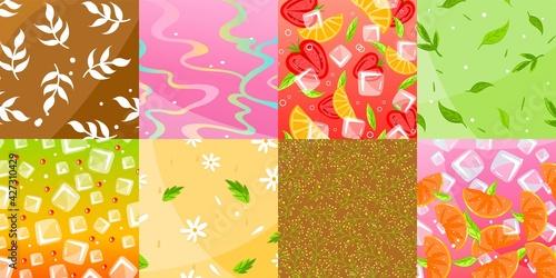 Background pattern, texture banner, lemon fruit food, seamless pattern, green wallpaper, design, cartoon style vector illustration