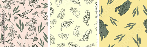 Set of seamless patterns. Tigers and floral style. Vector illustration