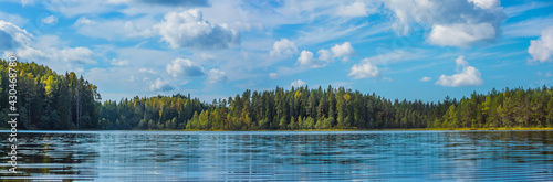 Panoramic view of beautiful forest lake in Russia.