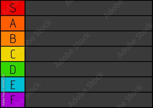 Composition of colourful tier list with black letters and black grid and background