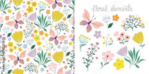 Spring and summer set with seamless pattern and floral elements isolated on white