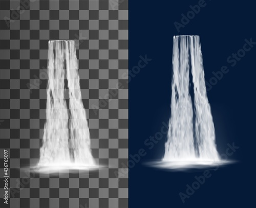 Waterfall cascade, water fall realistic isolated vector on transparent background. Waterfall cascade from river stream, spring water falling from mountain with splashes, natural park scenery