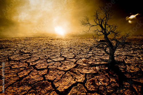 The picture shows the effect of drought, cracked soil, no seasonal rain. Because caused by global warming. global warming concept
