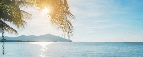 Coconut plam tree with sun and blue sky at tropical beach, Summer vacation concept, Banner panorama
