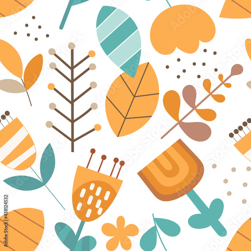 Seamless floral pattern kids fabric print. Nursery wall art vector illustration.