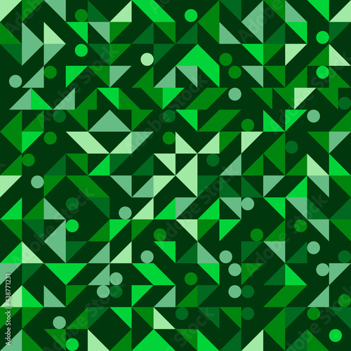 Green circles and triangles pattern. Vector seamless decorative shapes. Abstract green wallpaper or art image. Mosaic circles and triangles.