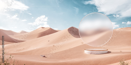 3d Illustration of an Blank Frosty Glass in the Middle of the Desert.