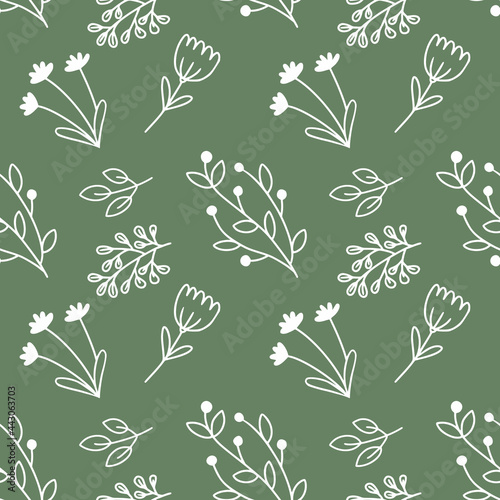 Seamless pattern with doodle-style flowers. Green wallpaper for sewing clothes, printing on fabric and packaging paper.