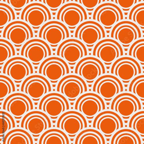 Orange circles pattern. Identical rows with circles. Vector orange wallpaper.