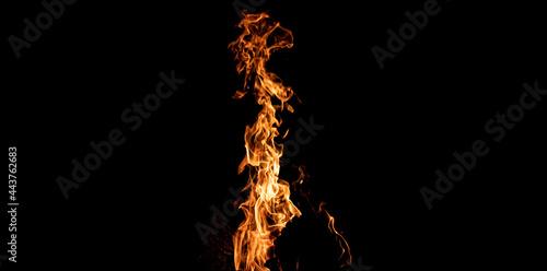 ogień, ognisko na czarnym tle, płomień
